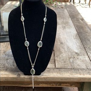 Chico's silver chain necklace with stone.